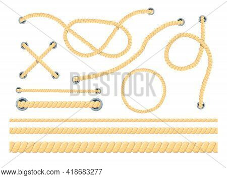 Cartoon Set Of Different Ropes Flat Vector Illustration. Colorful Collection Of Different Types Of C