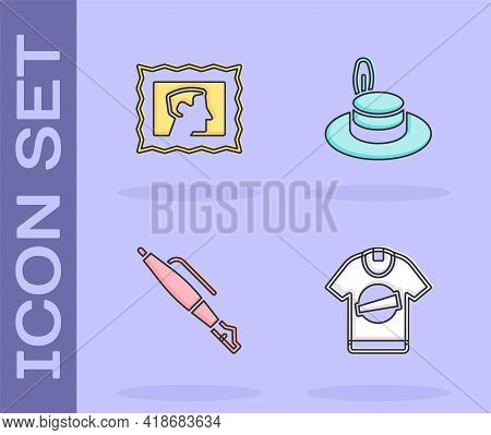 Set T-shirt, Postal Stamp, Fountain Pen Nib And Man Hat Icon. Vector