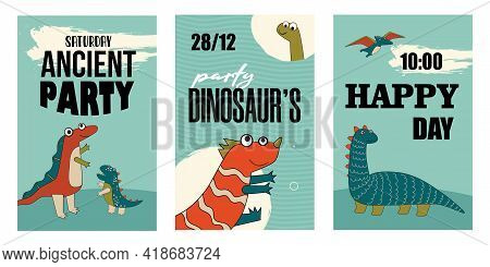 Set Of Happy Dino Characters Invitations. Cartoon Vector Illustration. Cute Dinos Template For Satur