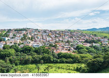 View Of The Urban Area Of The Brazilian Mineira City Of São Roque De Minas. Wide View Of The City Bu