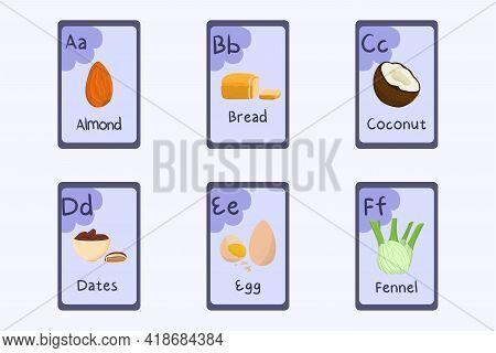 Colorful Alphabet Flashcard Letter A, B, C, D, E, F - Almond, Bread, Coconut, Dates, Egg, Fennel. Fo