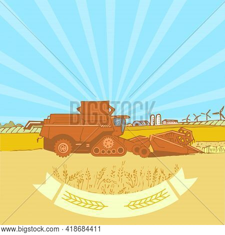 Emblem For Agricultural Business, Agricultural Company, Combine Harvester In A Field With Wheat, Vec