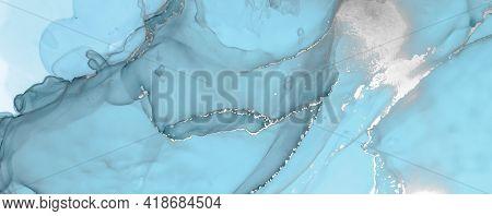 Luxury Ocean Waves. On Canvas. Hand Painted Alcohol Inks Modern Sea Paint. Ocean Water. Blue Marble