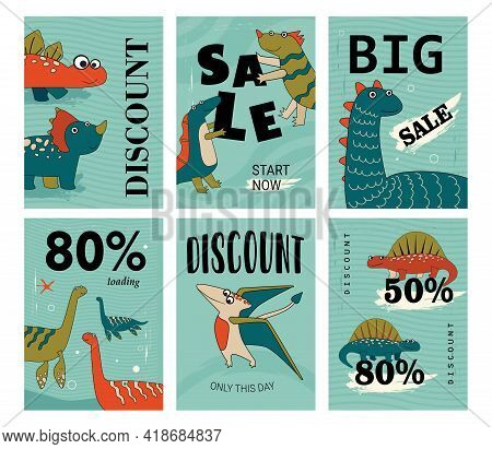 Funny And Cute Dino Set Of Discount Flyers. Cartoon Vector Illustration. Adorable Dinos Posters In F