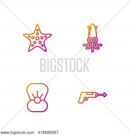 Set Line Fishing Harpoon, Shell With Pearl, Starfish And Octopus. Gradient Color Icons. Vector