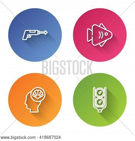 Set Line Fishing Harpoon, , Scallop Sea Shell And Gauge Scale. Color Circle Button. Vector
