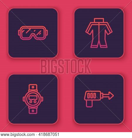 Set Line Diving Mask, Watch, Wetsuit And Fishing Harpoon. Blue Square Button. Vector
