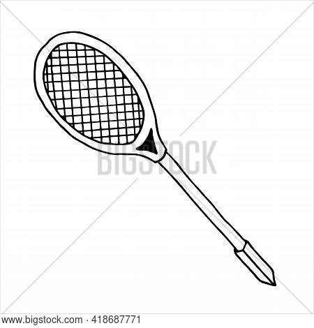 Badminton Rackets Vector Art Icon Illustration Isolated On White Background. Vector Illustration Of