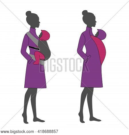 Woman Silhouette With A Babywearing Cape Jacket Sling. Babywearing Mother Winter Concept.