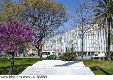 Spain, Barcelona, March, 2021: Beautiful Parks With Flowering Trees Against The Background Of Urban