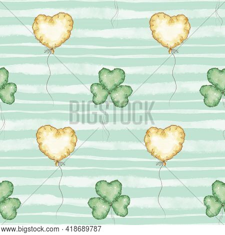 Seamless Pattern. Balloons For St. Patricks Day