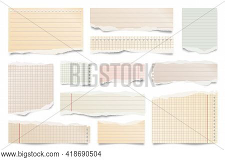 Colorful Ripped Paper Strips Isolated On White Background. Realistic Lined Paper Scraps With Torn Ed