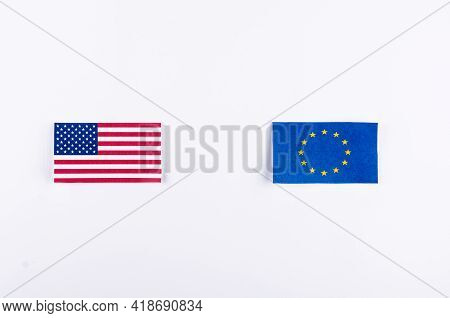 Eu And Usa Flags. European Union And American National Symbols. The Concept Of Friendship And Diplom
