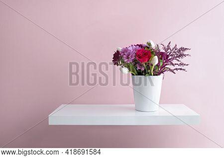 Flower Vase On A Floating Shelf Minimalist Interior Design