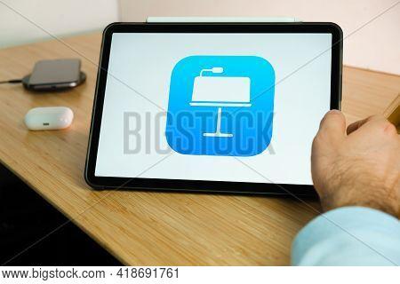 Apple Keynote Logo On The Screen Of Ipad Tablet. March 2021, San Francisco, Usa