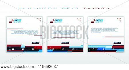 Set Of Social Media Post Template With Glitch Design. Eid Mubarak Background Design. Arabic Text Mea