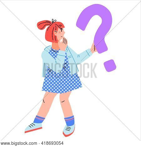 Cartoon Girl Standing With With Confused Expression And Question Mark, Flat Vector Illustration Isol
