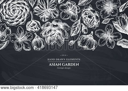 Floral Design With Chalk Hibiscus, Plum Flowers, Peach Flowers, Sakura Flowers, Magnolia Flowers, Ca