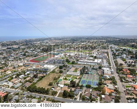 Aerial View Of Cardiff Town, Community In The Incorporated City Of Encinitas In San Diego County, Ca