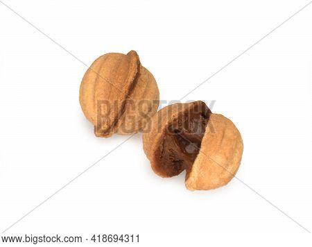 Two Sandy Cookies Isolated On The White Background, Sandy Nuts