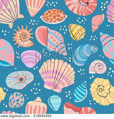 Seashell Seamless Pattern. Summer Ocean Print With Clam Shells, Oysters, Scallops And Shellfish. Mar