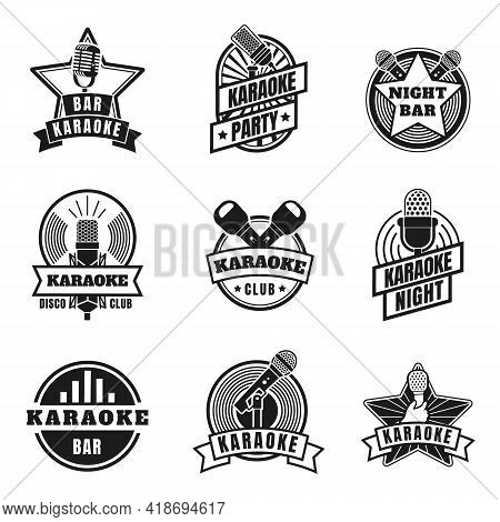 Karaoke Emblems. Vintage Labels With Microphones For Music Karaoke Night Party. Retro Silhouette Sin