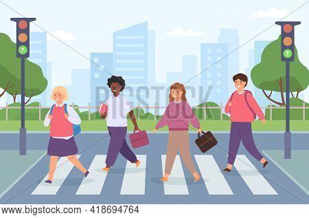 Kids Crossing Road. Group Of Student On Street Crosswalk With Traffic Light. Children Cross Pedestri