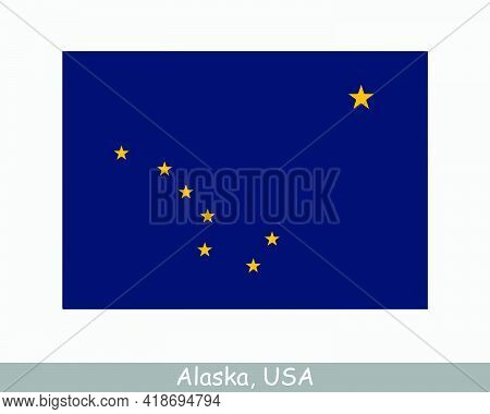 Alaska Usa State Flag. Flag Of Ak, Usa Isolated On White Background. United States, America, America
