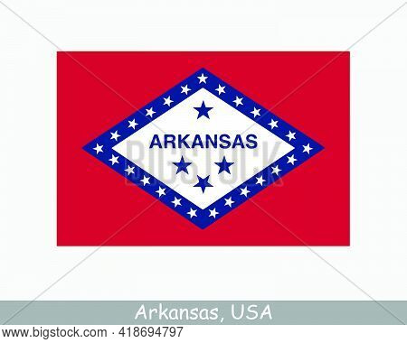 Arkansas Usa State Flag. Flag Of Ar, Usa Isolated On White Background. United States, America, Ameri