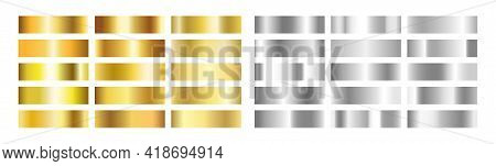 Gold And Silver Gradient Set. Golden Foil Brass Material. Copper Paper Sheet Plate. Shine Yellow Bor