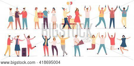 People Celebrate Birthday. Friend Characters Dance On Party, Sing Karaoke, Hold Cake And Gift, Drink