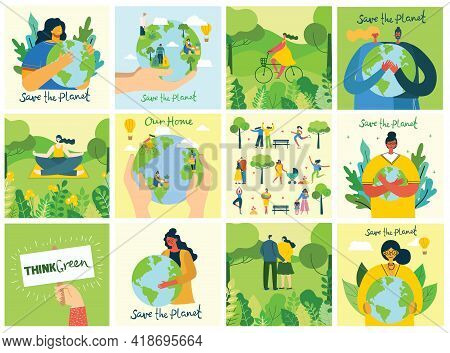 Set Of Eco Save Environment Pictures. People Taking Care Of Planet Collage. Zero Waste, Think Green,