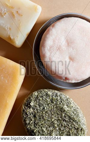 Fresh Natural Soap And Solid Shampoo Bars Close-up. Concept Of Organic Cosmetic