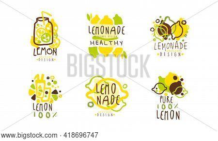 Squeezed Fresh Lemonade Badge Original Design Vector Set