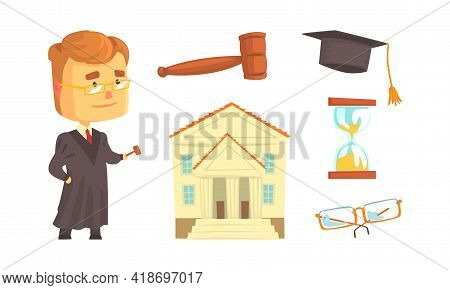 Lawyer Or Attorney Profession With Law Attributes Vector Set