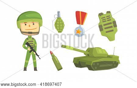 Soldier And Military Equipment Of Khaki Color Vector Set