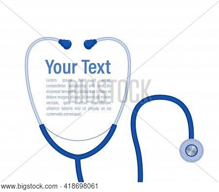 Stethoscope Medical, Stethoscope Equipment, Medicine Equipment On Blue Background. Symbol For Your W