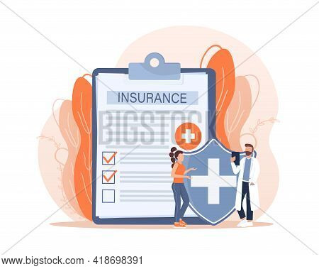 Vector Illustration With Health Insurance Concept. Big Clipboard With Doctor And Woman. Healthcare,