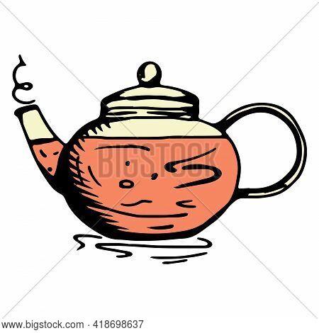 Teapot. Tea Kettle. Glass Teapot. Tea Ceremony. Cartoon Style.