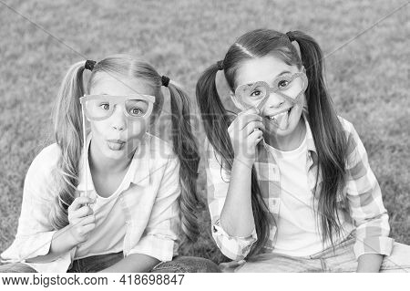 Carefree Kids Photo Booth Props Funny Eyewear Outdoors, Summer Holidays Concept