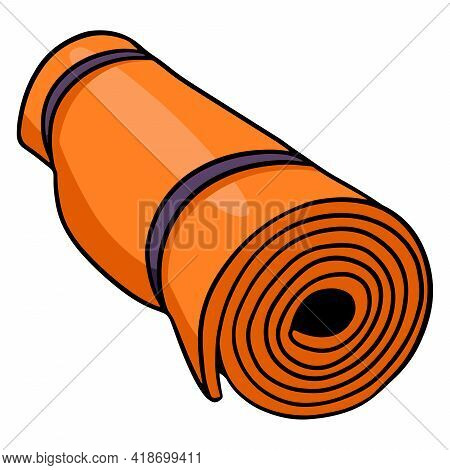 Yoga Mats. Fitness. Fitness And Yoga Mat. Physical Exercises. Cartoon Style.