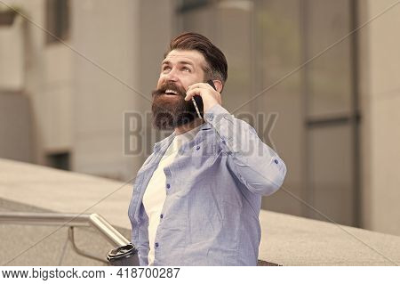 Do You Hear Me. Bearded Man Use Smartphone Outdoors. Mobile Technology. New Technology. Cellular Tec