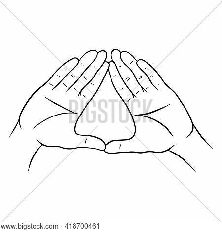 Hand Gestures. Yoga Gestures. Hands. Cartoon Style.
