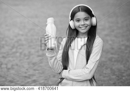 Teen Girl Hold Sport Bottle For Water Balance In Body And Health Hydration, Healthy Childhood