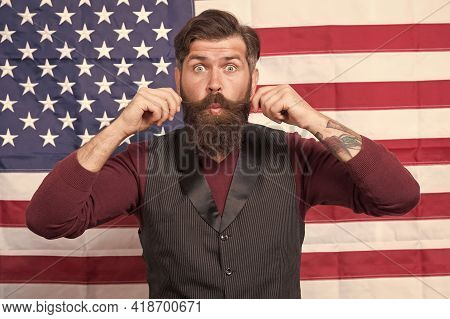 Twist His Mustache. Funny Man Celebrate 4th Of July. Nice Trip To Usa. Explore America On Vacation.