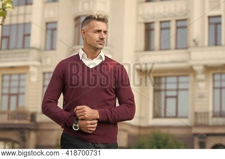 Confident Manager. Daily Outfit. Man Model Clothes Shop. Menswear And Fashionable Clothing. Man Look