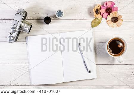 A Notebook Copy Space Mockup Photograph Styled In A Rangefinder Film Camera Photography Setting, Wit