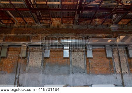 Ventilation System. Installation Of Ventilation Ducts During The Construction Of A New Building. Nec