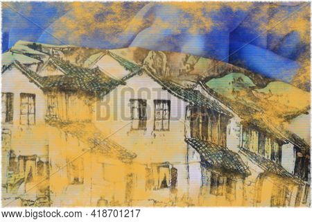 An Image Of An Old Village Created Using Two Pieces Of Fabric, One With Houses, One Blue. Together T
