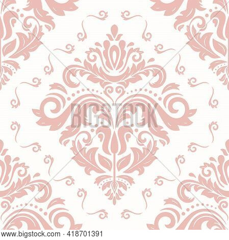 Orient Classic Pattern. Seamless Abstract Background With Vintage Pink Elements. Orient Background.